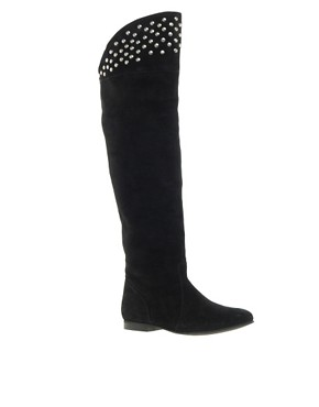 Image 1 ofASOS KELLY Studded Suede Over The Knee Boots
