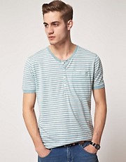 Selected Stripe Button T-Shirt
