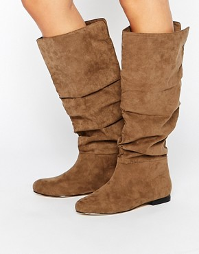 ASOS COLLABORATE Knee High Flat Slouch Boots