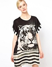 Emma Cook Silk Kaftan in Tiger Stripe Print