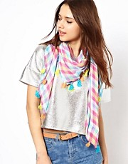 Pepe Jeans Gingham Neckerchief Scarf with Pom Pom