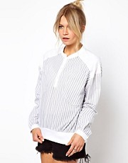 ASOS Shell Top In Stripe Print With Jersey Hem