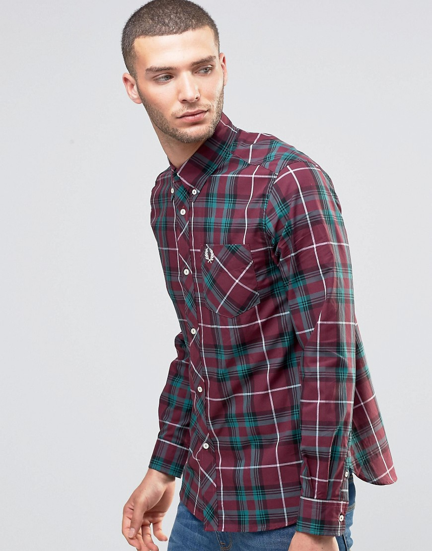Fred Perry Laurel Wreath Shirt Plaid Check Buttondown In Slim Fit - Pu