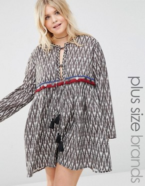 Alice & You Chevron Printed Smock Dress With Coin Trim And Tassel Detail