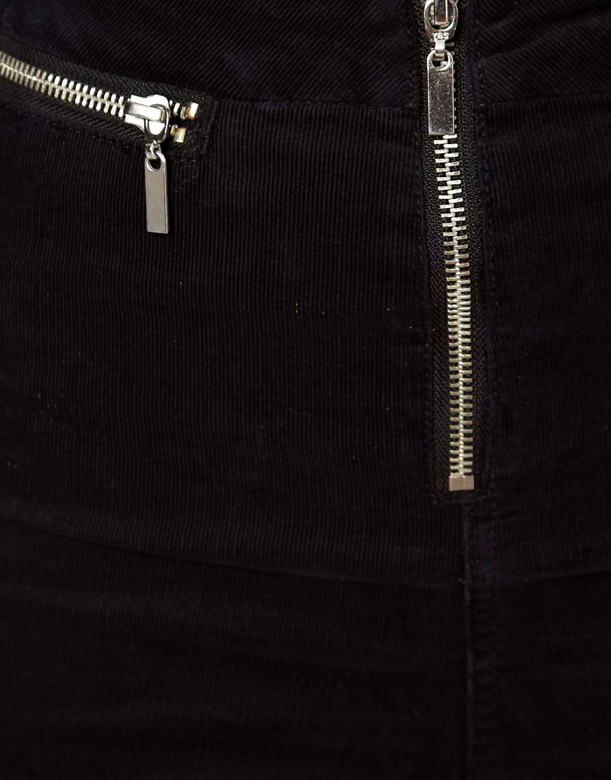 Image 3 ofASOS Cord Zip Front Jeggings in Black