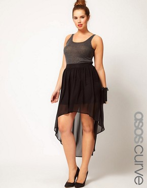 Image 1 ofASOS CURVE Skirt with Dipped Hem