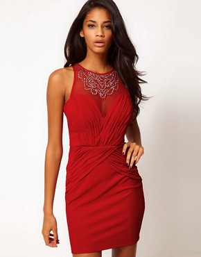 Image 1 ofLipsy Jewelled Dress With Ruche Detailing