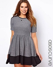 ASOS CURVE Skater Dress In Colourblock