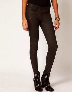 Image 1 ofRiver Island Ellys Skinny in Chocolate Coated Denim