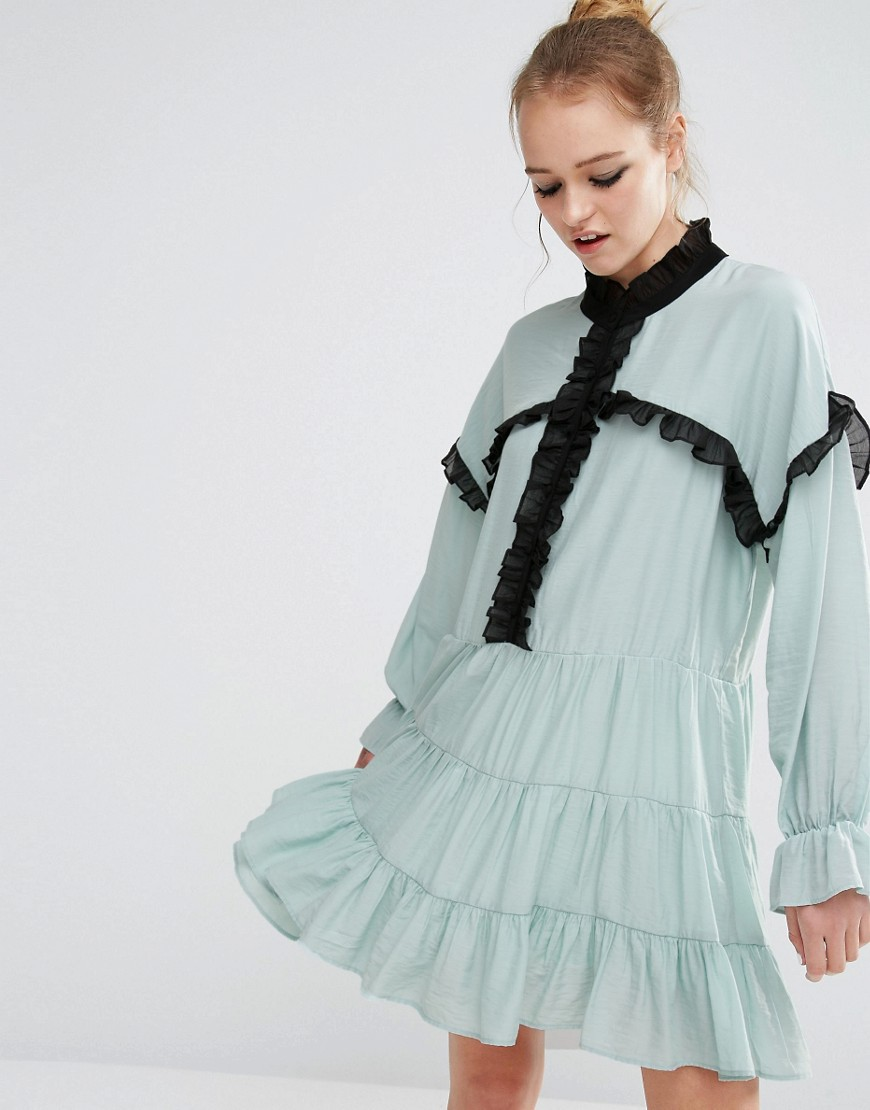 Sister Jane Ruffle Detail Smock Dress - Blue