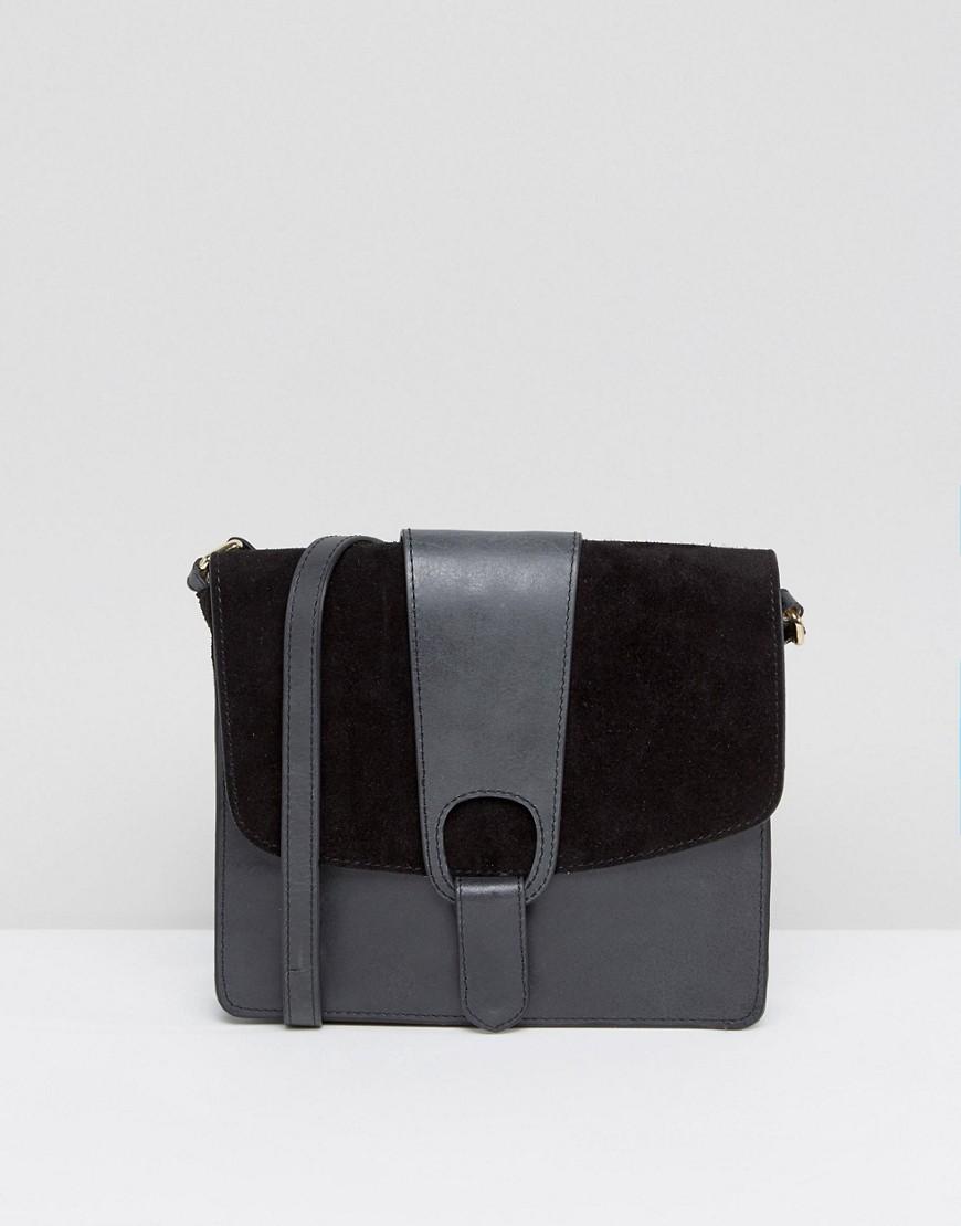 a05e2f68a874 Image of ASOS Leather Slot Through Cross Body Bag - Black