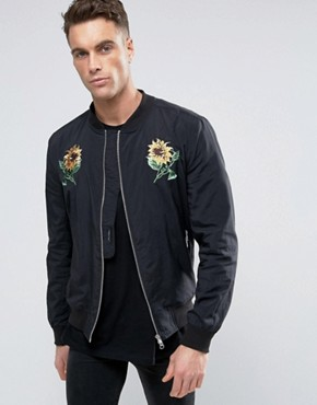 Religion Souvenir Bomber Jacket with Flower Embroidery