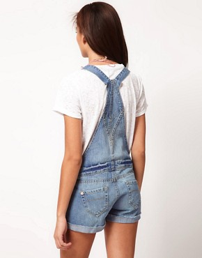 Image 2 ofRiver Island Denim Dungaree Short