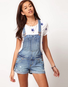 Image 1 ofRiver Island Denim Dungaree Short