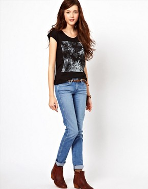 Image 4 ofWrangler Boot Print Cap Sleeve T-Shirt