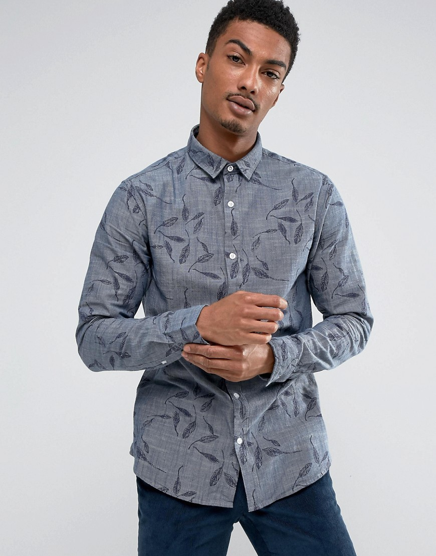 Only & Sons Shirt in Slim Fit Printed Chambray - Medium blue