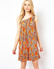 Traffic People One Shoulder Swing Dress In Leopard Floral Print
