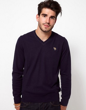 Image 1 ofPaul Smith Jeans V Neck Zebra Logo Jumper