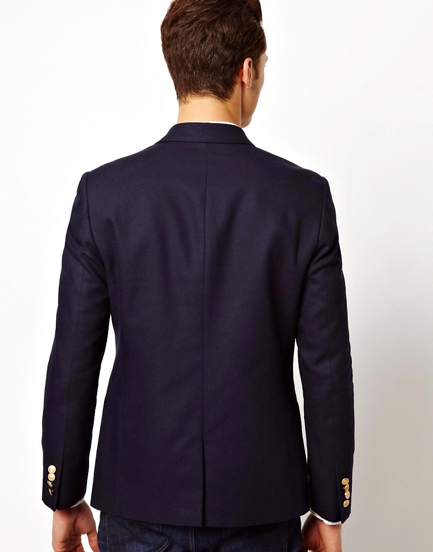 Image 2 of ASOS Slim Fit Double Breasted Blazer With Gold Buttons