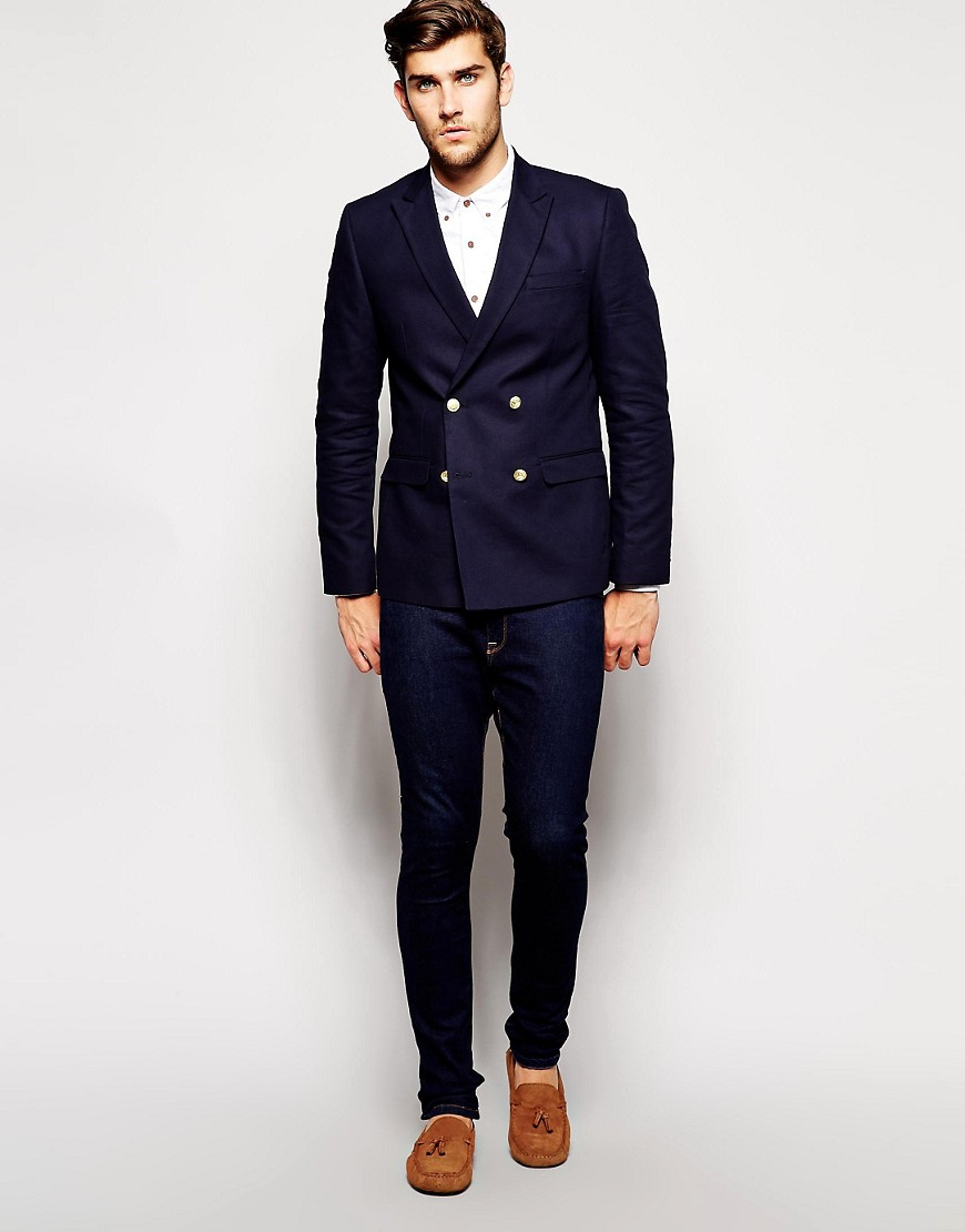 Image 4 of ASOS Slim Fit Double Breasted Blazer With Gold Buttons