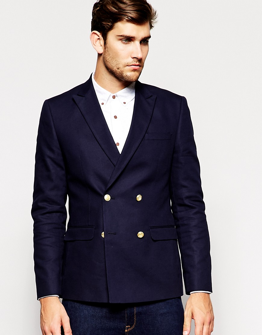 Image 1 of ASOS Slim Fit Double Breasted Blazer With Gold Buttons