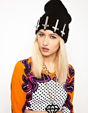 Funky Bling Crosses Beanie Hat