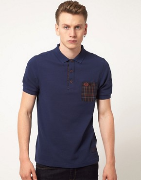 Image 1 ofFred Perry Polo Shirt Slim Fit Workwear Check Mix