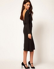 Ganni Jersey Midi Dress with Scoop Back and Twist Detail