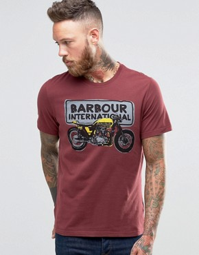 Barbour T-Shirt With Motorcycle Sketch In Red