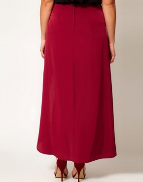 Image 2 of ASOS CURVE Exclusive Split Thigh Maxi Skirt