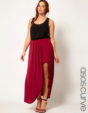 Image 1 of ASOS CURVE Exclusive Split Thigh Maxi Skirt