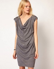 Selected Washed Jersey Dress with Cowl Neck