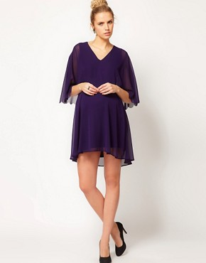 Image 4 ofASOS Maternity Chiffon Dress With Scalloped Edge