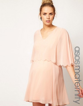 Image 1 ofASOS Maternity Chiffon Dress With Scalloped Edge