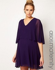 ASOS Maternity Chiffon Dress With Scalloped Edge