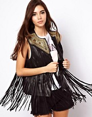 ASOS Fringed Leather Gilet With Embroidery