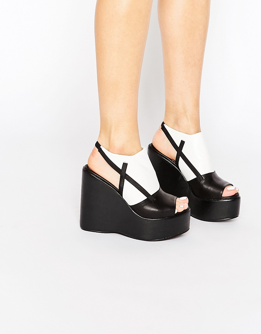 Truffle Collection Calla Platform Wedge Sandals - Black