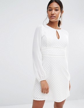 Lipsy Long Sleeve Keyhole Mesh Dress