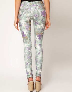 Image 2 ofASOS Skinny Jeans In Floral Gerbera Print #4