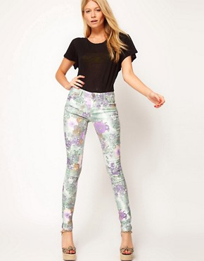 Image 4 ofASOS Skinny Jeans In Floral Gerbera Print #4