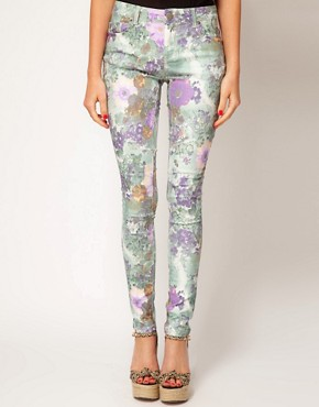 Image 1 ofASOS Skinny Jeans In Floral Gerbera Print #4