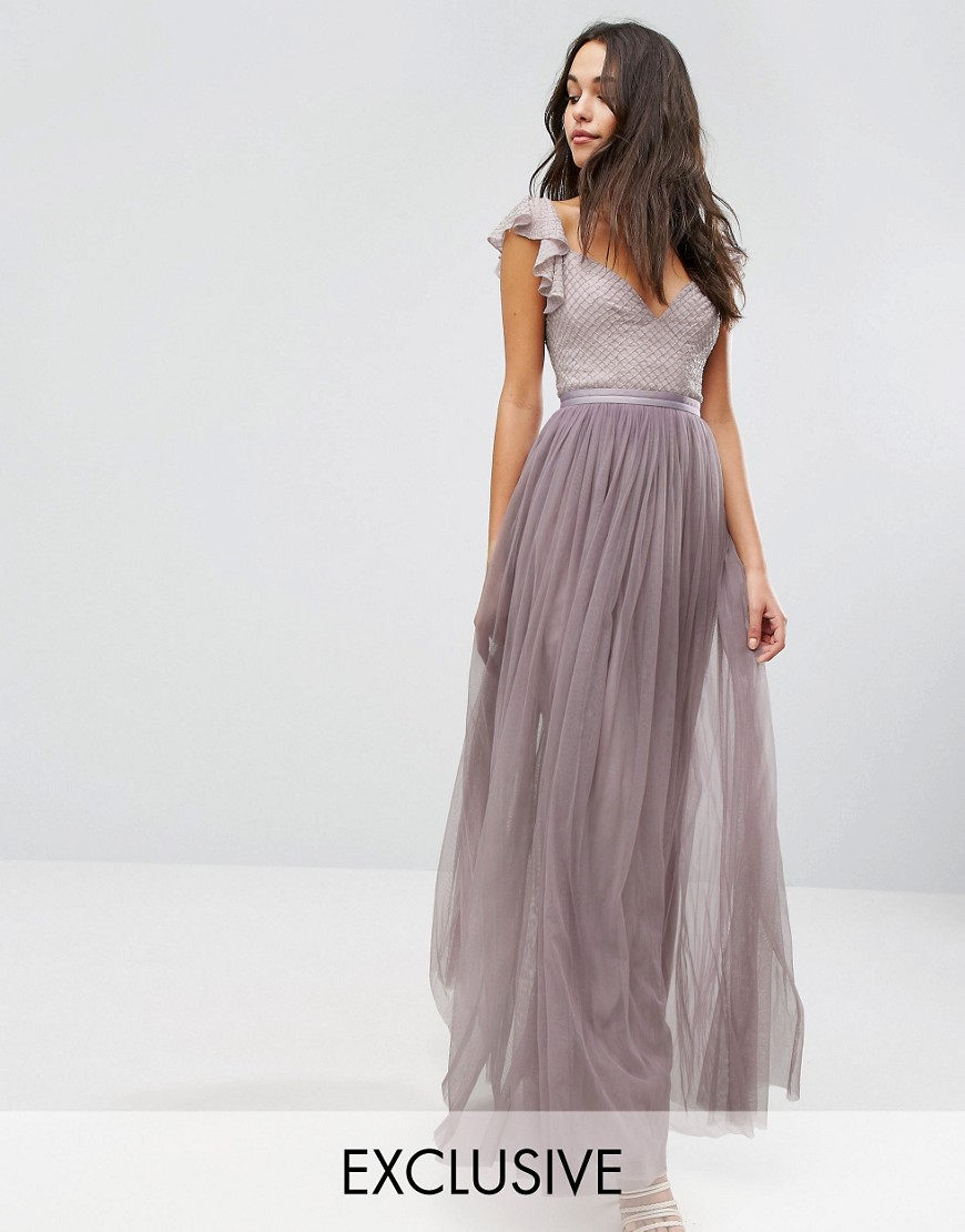 Needle & Thread Swan Tulle Maxi Dress With Frill Sleeve - Lavender