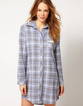 Image 1 ofEsprit Nordic Check Night Shirt