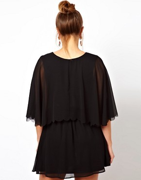 Image 2 ofASOS CURVE Chiffon Dress with Scalloped Edge