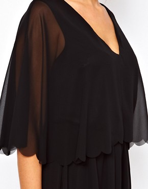 Image 3 ofASOS CURVE Chiffon Dress with Scalloped Edge