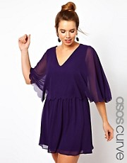ASOS CURVE - Vestito in chiffon con orlo smerlato
