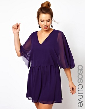 Image 1 ofASOS CURVE Chiffon Dress with Scalloped Edge