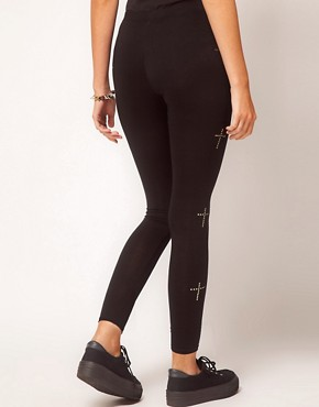Image 2 ofASOS PETITE Exclusive Leggings With Studded Crosses