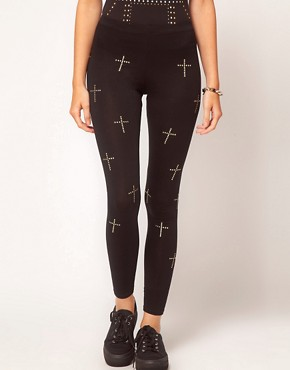Image 4 ofASOS PETITE Exclusive Leggings With Studded Crosses