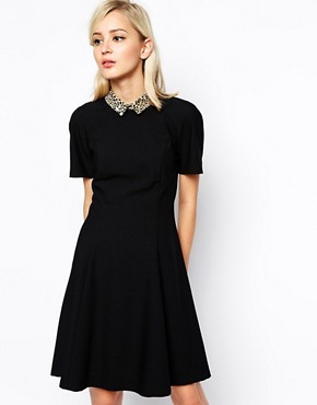 River Island Swing Dress With Leopard Collar
